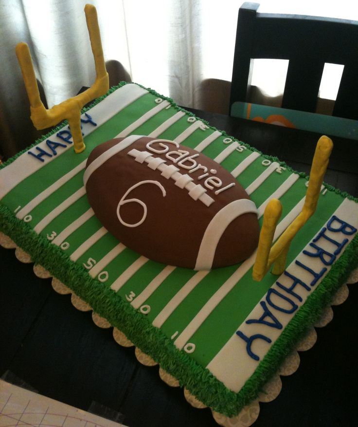 @Celeste Johnson I like this cake for Caden.  I don't think the goal posts are necessary.  How difficult is something like this to make?