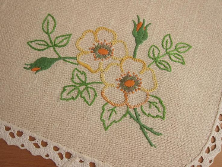 Vintage Semco Traycloth Centrepiece Doily Flowers Hand Embroidered Linen