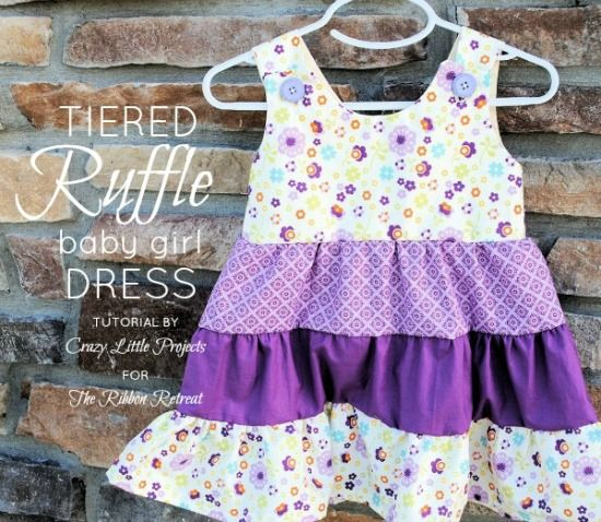 Tiered Ruffle Baby Girl Dress Tutorial - {The Ribbon Retreat Blog} - free pattern in 2 sizes
