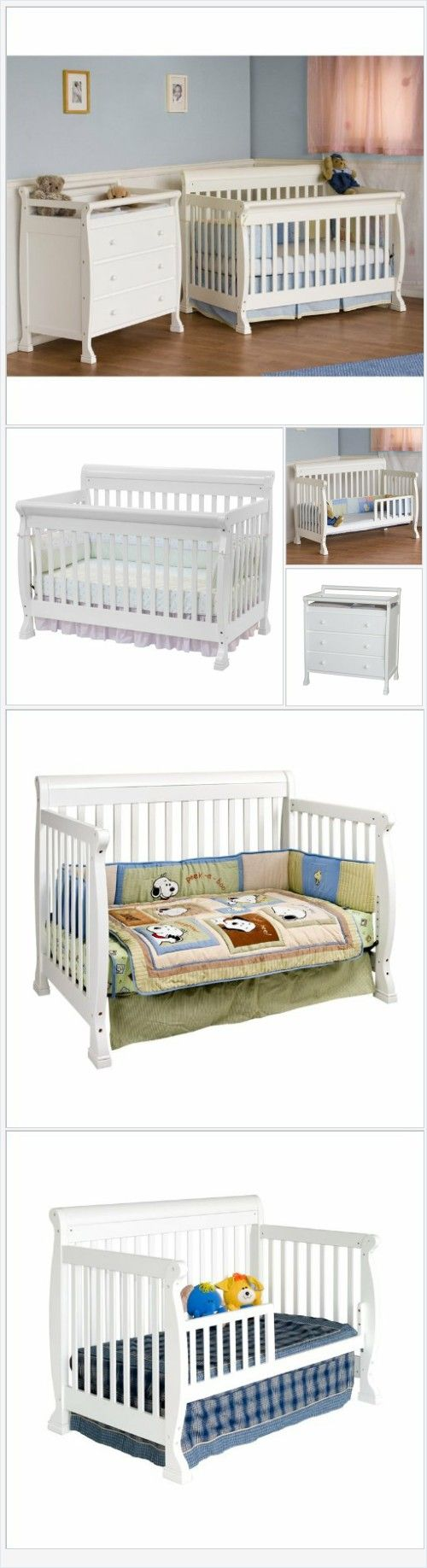 Baby cribs big w - Davinci Kalani Convertible Wood Crib Nursery Set W Toddler Rail In White Every Thing Baby