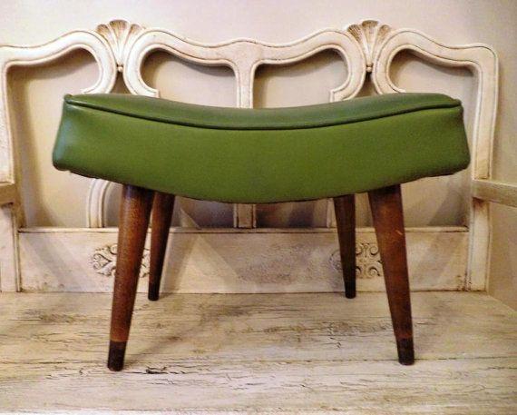 Mid Century Modern Ottoman  - Retro Green Ottoman Footstool on Etsy, $40.00