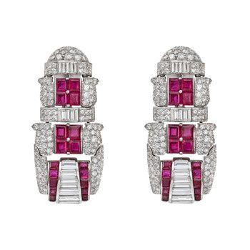 Estate Betteridge Collection Art Deco-Inspired Ruby & Diamond ...