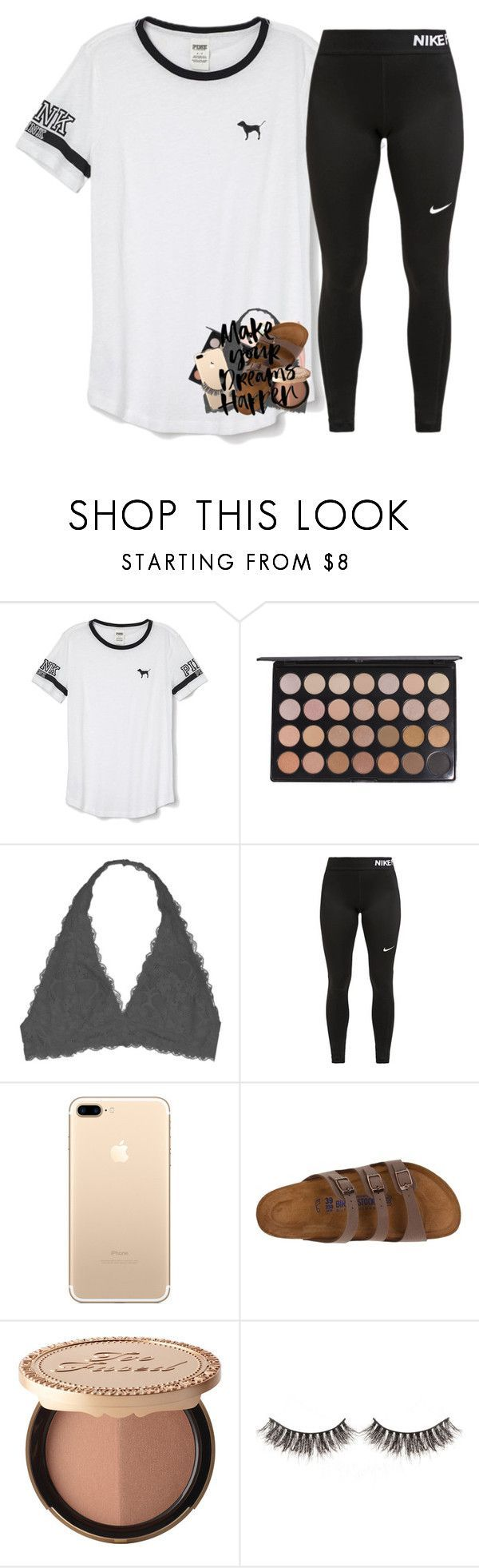 """School pics tomorrow "" by abigailcdunn ❤ liked on Polyvore featuring Victoria's Secret PINK, Fujifilm, Youmita, NIKE, Birkenstock and Too Faced Cosmetics"
