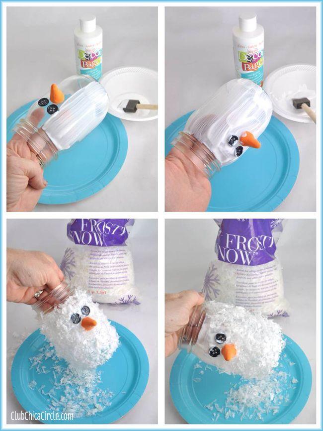Snowman Mason Jar Luminary Ornament Craft Idea Would Be Cute For Baby Food Jars Also
