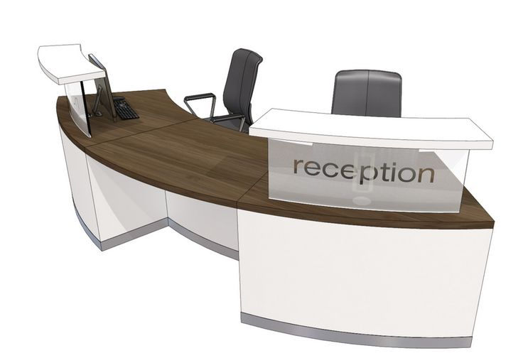 Curved reception desk for the reception area.  I particularly like the frontage as people in wheelchairs can come up close to speak to the receptionist.