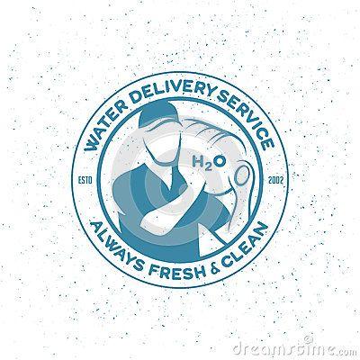 Water delivery service emblem. Delivery man with big bottle on a shoulder. Vector illustration.
