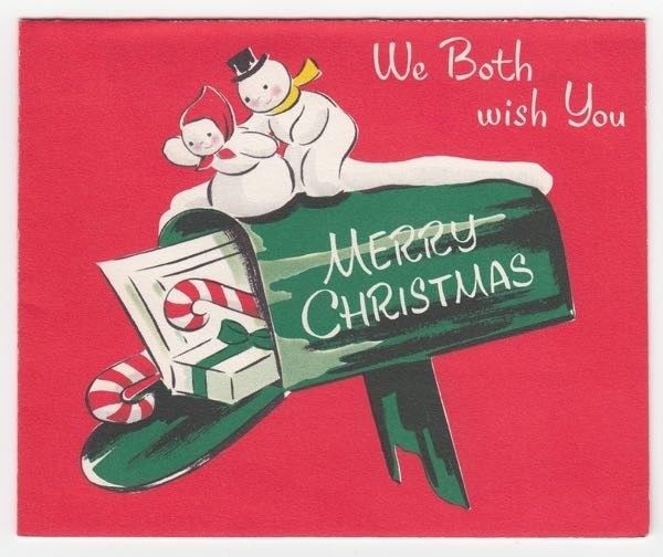 Vintage Greeting Card Christmas Mr & Mrs Snowman Rural Mailbox Norcross L12