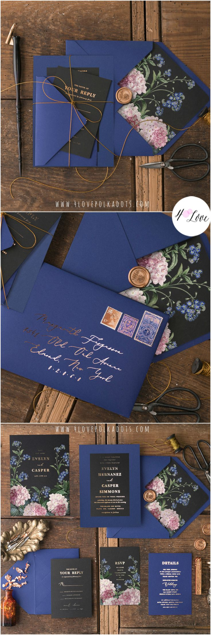 Elegant floral wedding invitations with gold foil calligraphy printing in Navy, Black & Gold color scheme. Glamorous design with touch of vintage feeling. Fully assembled with addition of a delicate gold twine #wedding