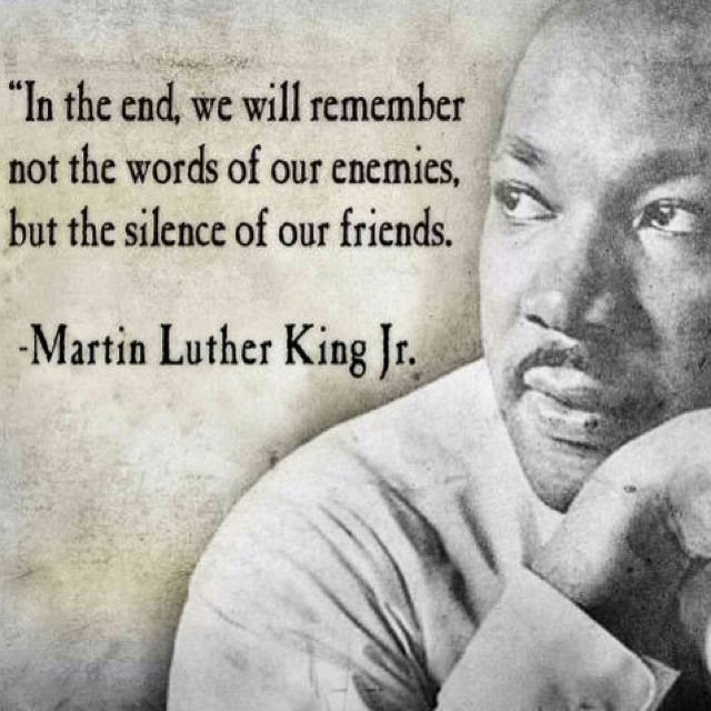 In the end, we will remember not the words of our enemies but the silence of our friends.-MLK