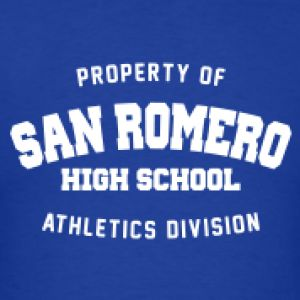 """San Romero High School. Inspired by the 2012 game """"Lollipop Chainsaw"""". #tshirt #zombies #videogame #art"""