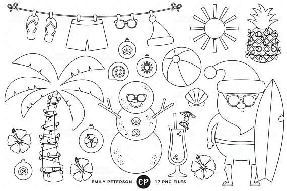 50 Off Sale Christmas In July Digital Stamps Tropical Santa Line Art Christmas Beach Clip Art Comme Digital Stamps Santa Coloring Pages Halloween Digital