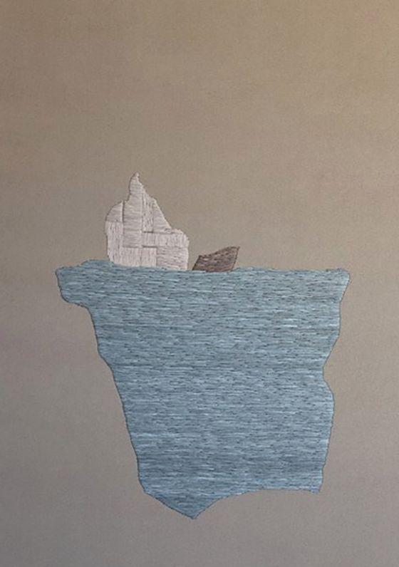 An embroidered glaciar by Defne Tesal, an Istanbul-based artist.