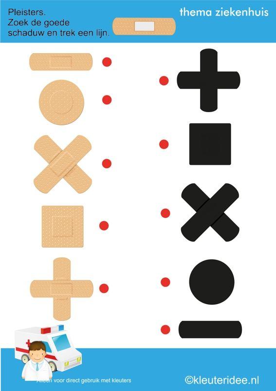 Pleisters, zoek de goede schaduw met kleuters, thema ziekenhuis, kleuteridee.nl , juf Petra, free printable.