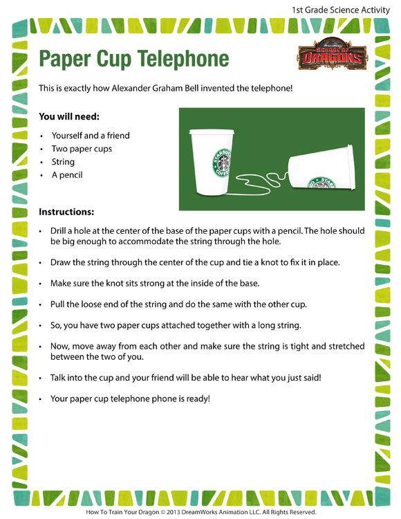 Paper Cup Telephone - Printable Science Activities