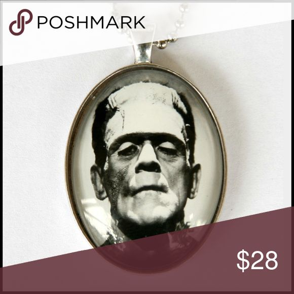 Frankenstein Glass Dome Necklace Classic Black & White Frankenstein Picture - Silver Metal & Glass - Handmade Item // tags: spooky spook creepy creep horror dark gothic goth dark films film movies movie jewelry accessories accessory cool amazing awesome rebel monsters monster love lovely badass rockabilly quality ooak unique unisex neat rad wicked monochrome pendants pendant necklaces large big fan beautiful beauty pretty handmade ❤ Jewelry Necklaces