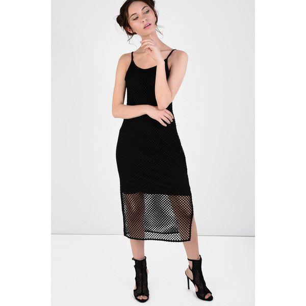 Glamorous Petite Black Mesh Bodycon Cami Dress (115 MXN) ❤ liked on Polyvore featuring dresses, black, spaghetti strap midi dress, petite bodycon dresses, midi cocktail dress, midi dress and bodycon midi dress