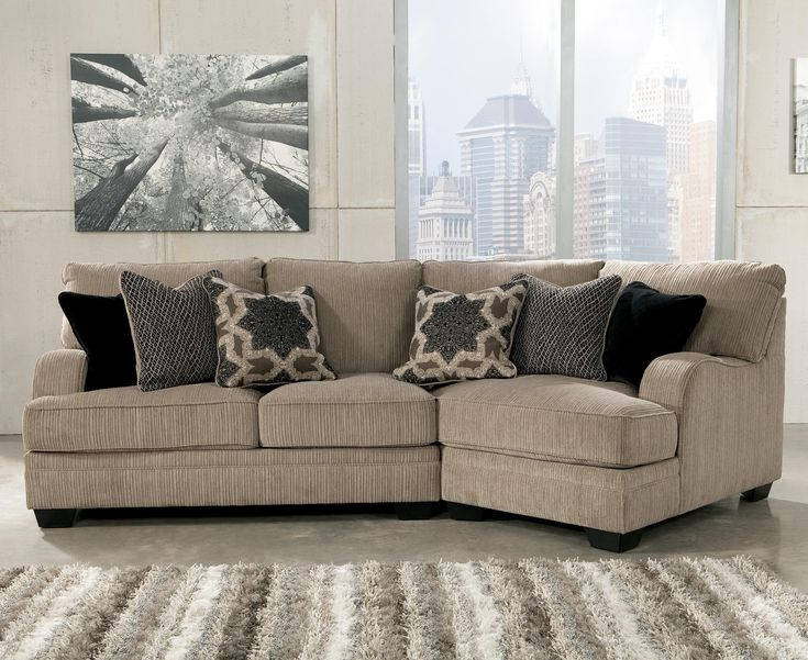 Ashley Signature Design Katisha   Platinum Sectional With Right Cuddler    Rooms And Rest   Sofa Sectional Mankato, Austin, New Ulm, Minnesota