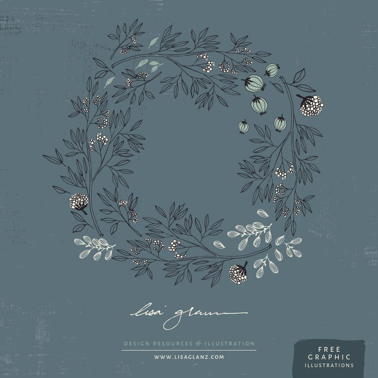 Hand drawn rustic floral wreath, made with love for you to enjoy :) found on https://lisaglanz.com/free-graphics/ #illustration #art #graphic #clipart #free