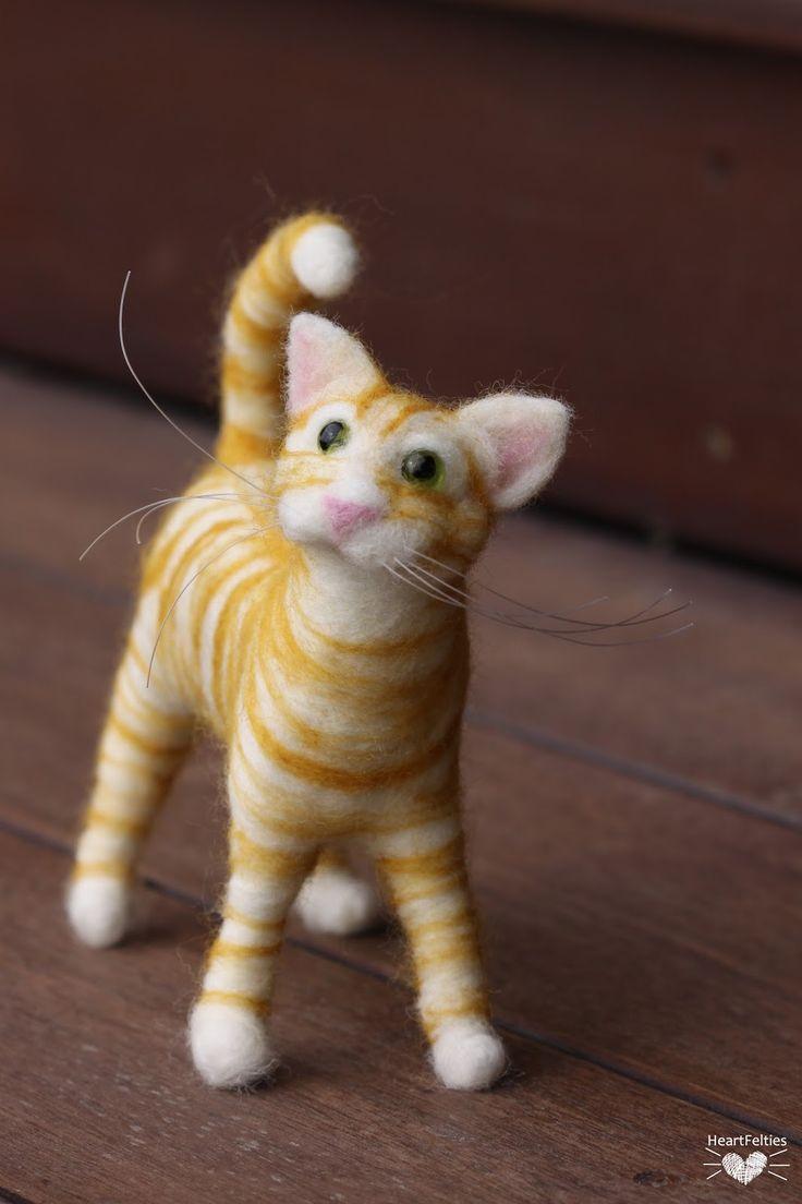 HeartFelties: Ginger stripes - needle felted tabby cat by Diana Steven