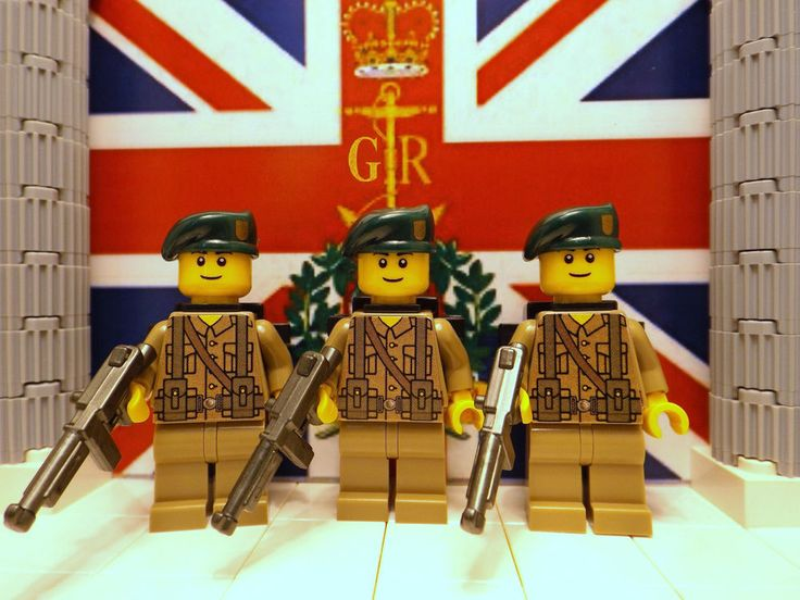 3x LEGO British Marine Commandos with M1A1v2's, Beret's & Backpacks