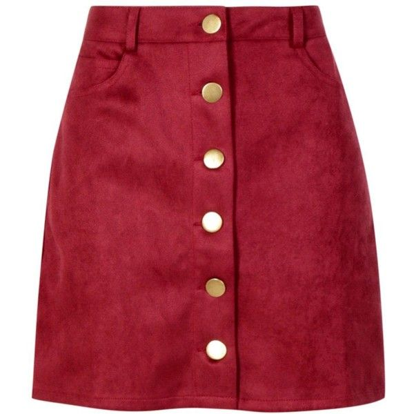 Boohoo Laura Bonded Suede Button Through Mini Skirt (58 PEN) ❤ liked on Polyvore featuring skirts, mini skirts, circle skirts, short maxi skirt, red midi skirt, red short skirt and pleated mini skirt