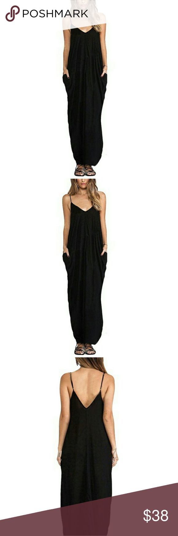 💖JUST IN💖 DESMOND MAXI DRESS - BLACK Adjustable straps, side pockets.  Chic, light and comfy.  Dress with your favorite accessories for various looks.  Perfect for those beautiful Summer days and excellent for added style while running those errands!  Bundle and save on price!  Poly/Rayon blend. Sizing - please refer to sizing chart Dresses