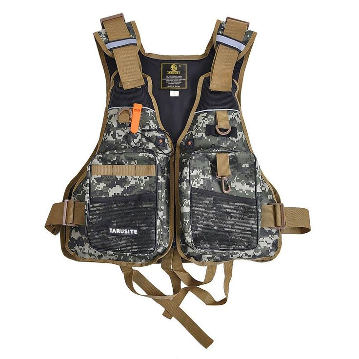 NEW Buoyancy Windproof Fly Fishing Vest Life Clothing Vest with Emergency Whistle Breathable Lifejacket Aid Sailing Camouflage