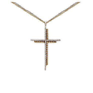 Μοντέρνος βαπτιστικός σταυρός για κορίτσι λευκόχρυσος και χρυσός Κ14 με διπλό σειρέ ζιργκόν | Βαπτιστικοί σταυροί ΤΣΑΛΔΑΡΗΣ στο Χαλάνδρι #βαπτιστικός #σταυρός #βάπτισης #χρυσος #κοριτσι