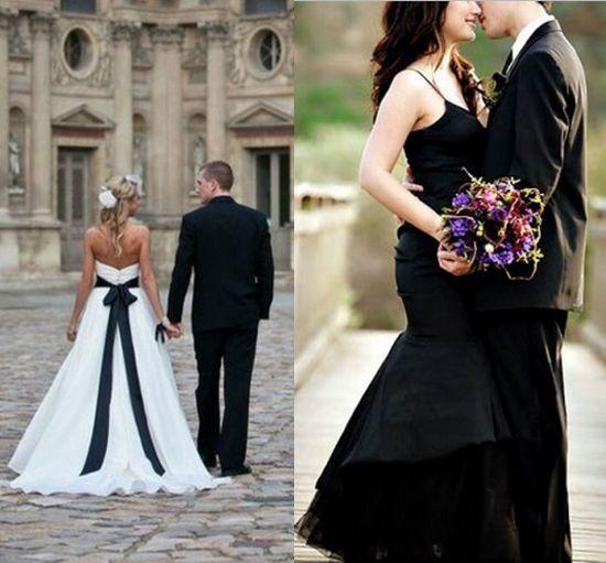 Abito da sposa bianco con dettagli neri o abito nero
