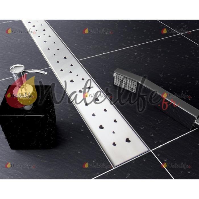 """Caniveau de douche linéaire pour douche à l'italienne avec Bordure d'étanchéité de 20 mm sur le pourtour - Modèle avec grille """"Cœurs"""" - Dimensions: Longueur: 600 mm -Largeur:"""