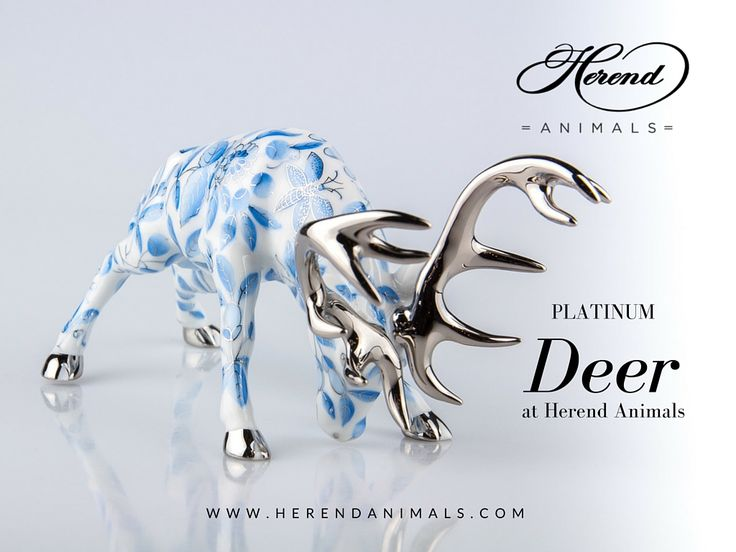 A #Platinum #Deer figurine even with white background can represent the power of this animal. How do you like it? If yes, check it out at #Herend #Animals! https://www.herendanimals.com