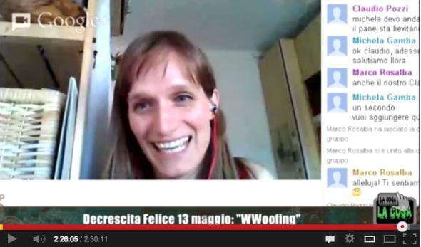 Michela Gamba - decrescita felice e wwoof su La Cosa