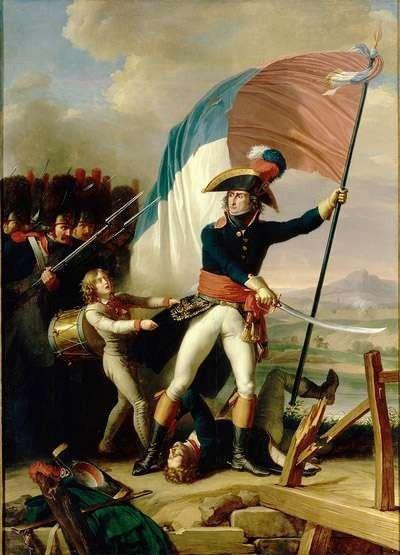 Le général Augerau lors de la bataille du pont d'Arcole le 15 novembre 1796 par Charles Thévenin