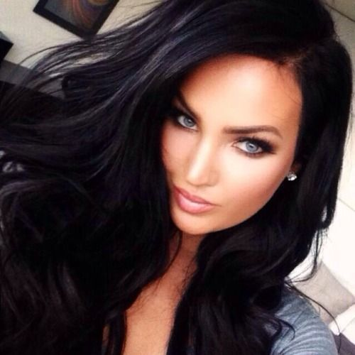 Gorgeous Jet Black hair and stunning  blue eyes