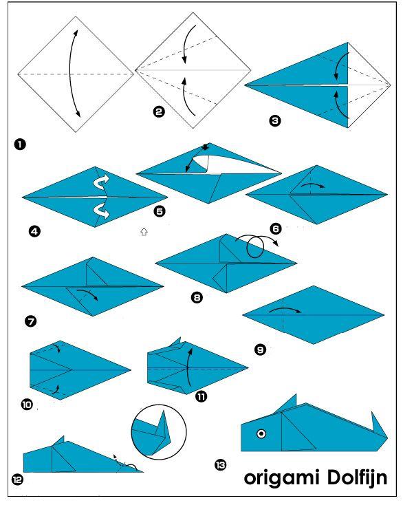 origami dolfijn vouwen