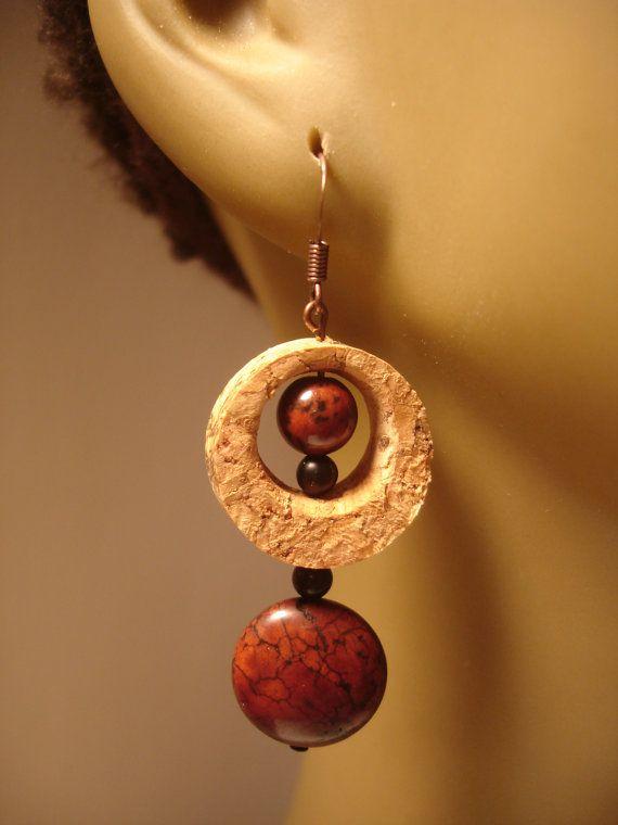wine cork earrings. LOVE it