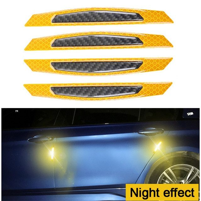 4 pcs New Car Auto Door Opening Safety Warning Sticker Stickers Reflective