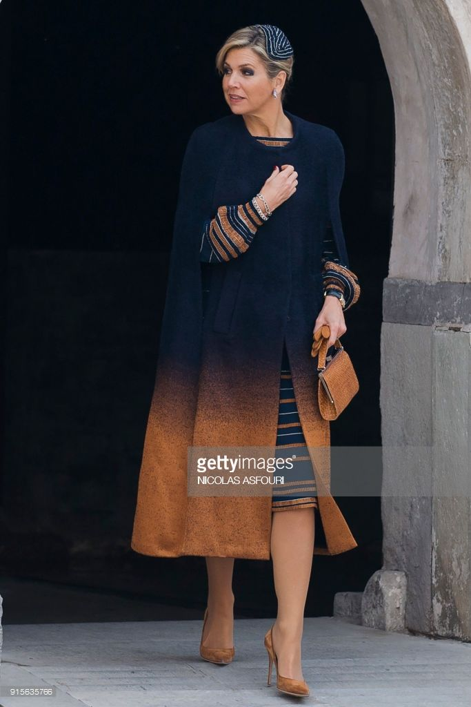 Dutch Queen Maxima arrives at the Temple restaurant in Beijing on February 8, 2018.Queen Maxima, who came with her husband Dutch King Willem-Alexander, is on a two-day visit to China. / AFP PHOTO / NICOLAS ASFOURI        (Photo credit should read NICOLAS ASFOURI/AFP/Getty Images)