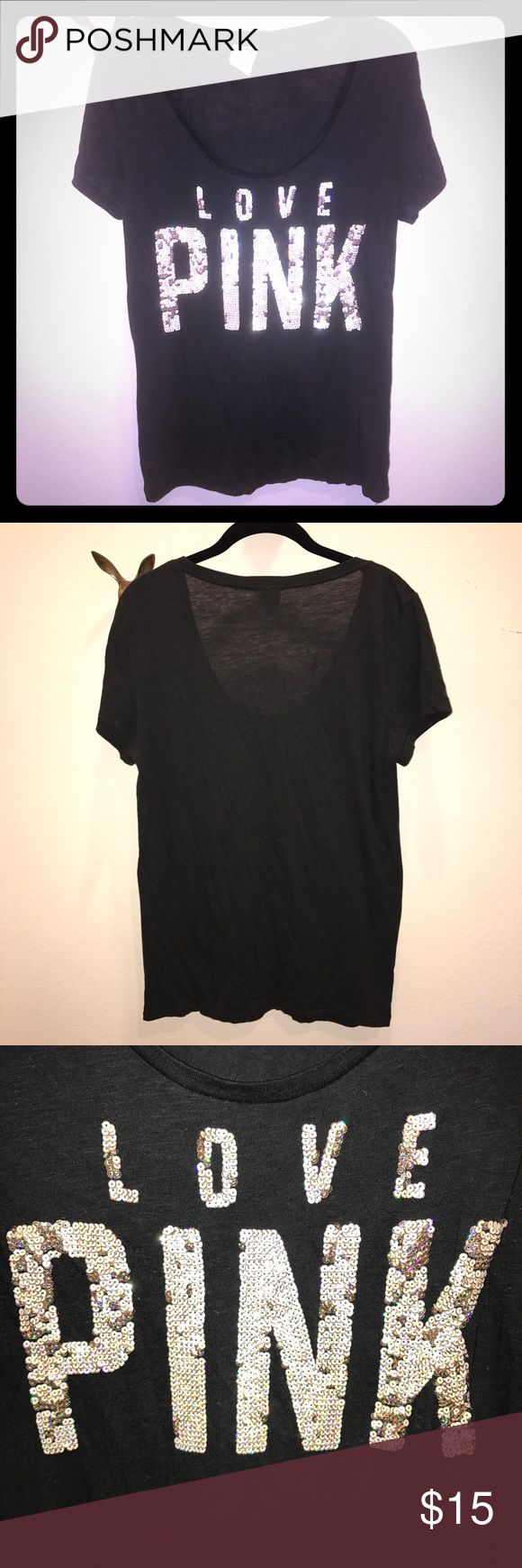 Victoria's Secret PINK sequin tee shirt size L Victoria's Secret PINK black short sleeve tee shirt. Size L. Super soft. Sequins are reversible from white to silver. Excellent used condition. No missing sequins. PINK Victoria's Secret Tops Tees - Short Sleeve