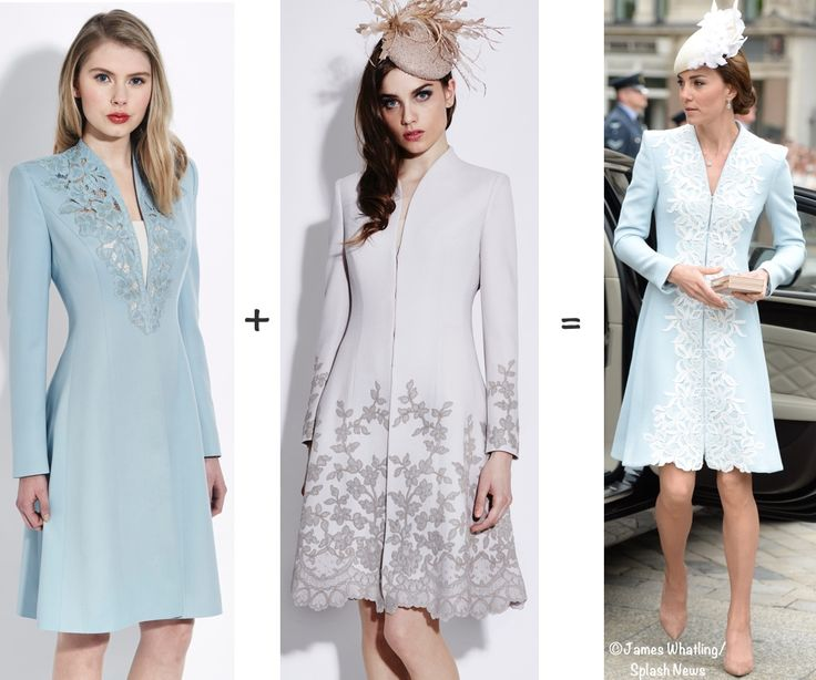 The garment combines elements from multiple Catherine Walker designs. Left, the Rosa Coatdress; on the right, the Melrose Coatdress.