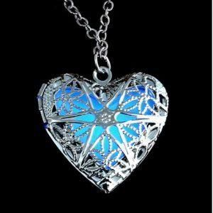 Blue Filigree Glowie jewelry - Glow in the dark heart locket pendant necklace