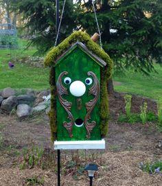 Door Knob Bird House my husband made for our Alice in wonderland garden