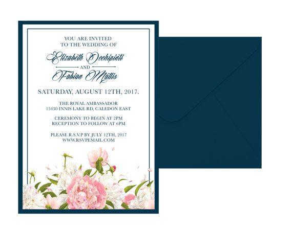 Classic Floral Wedding Invitation Suite by pulpandponder on Etsy #navyandblush #floralweddinginvitation #navyweddinginvitation #Navyandwhiteinvitation #customfloralinvitation #glaminvitation #classicinvitation #elegantinvitation