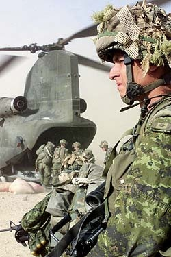 A Canadian soldier from Charlie Company, attached to the Third Battalion