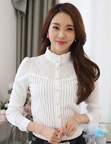 Damen Solide Übergröße Lässig/Alltäglich Hemd,Ständer Frühling Langarm Weiß Polyester Mittel 4936488 2017 – €14.69