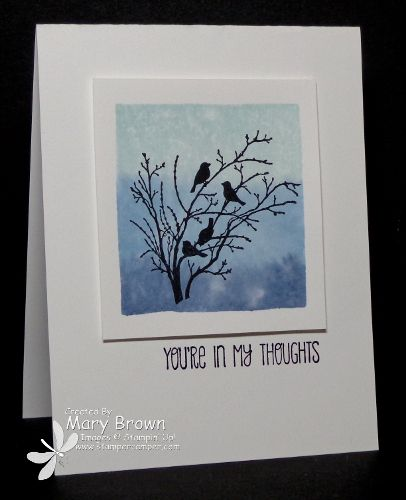 Love this beauty of a card by Mary! She used the acrylic block stamping to make her beautiful background. Serene Silhouettes and A Dozen Thoughts were used. All supplies from Stampin' Up!