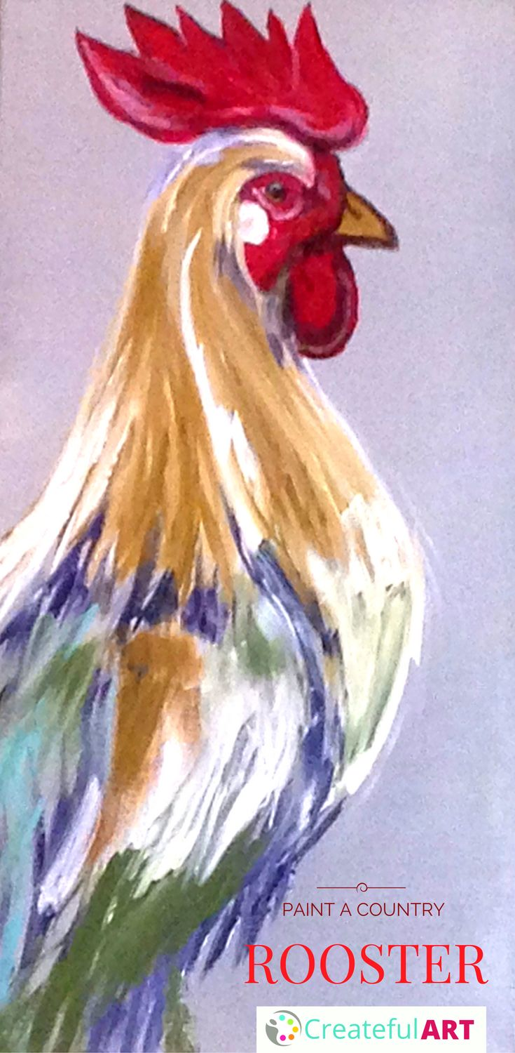rooster painting. How to paint it yourself for a country farm house style home