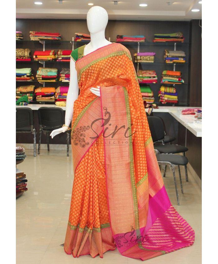 Orange Pure Benarasi katan georgette silk saree in rich borders pallu