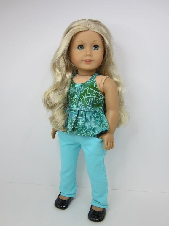 American girl doll clothes - Aqua and green batik halter top and Aqua jeans by JazzyDollDuds.