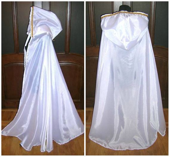 WHITE CLOAK Medieval Cape Wedding Dress Halloween Costume Snow Ice Queen Narnia Witch Christmas X